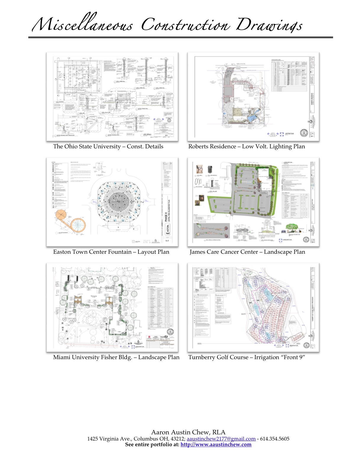 Select Work Samples Miscellaneous Construction Documents